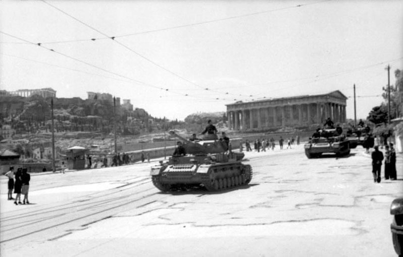 Deutsche Panzer in Athen, 7. Juli 1943