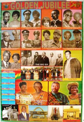 Golden Jubilee calendar-poster, showing all past and present Heads of State and First Ladies