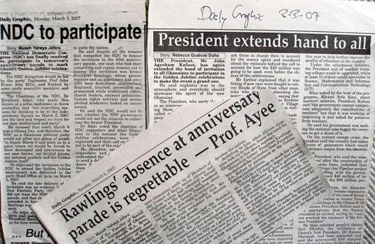 Newspaper headlines about NDC participation in Ghana's anniversary parade