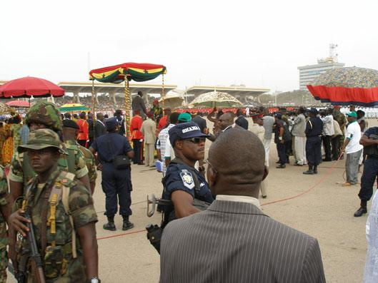 Golden Jubilee Parade: President Kufuor greeting the chiefs (photo: C. Lentz)