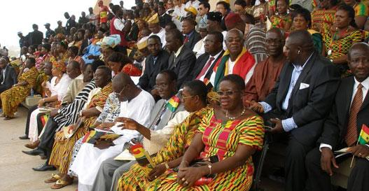 Golden Jubilee Parade: NDC members' tribune (photo: C. Lentz). Front row, first from right: Hon. Akua Sena Dansua; fifth from right: Prof Atta Mills