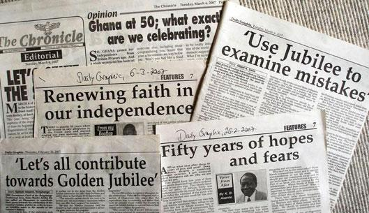 Public discussion on Independence celebrations, exemplified by Ghanaian newspaper headlines (Daily Graphic and The Chronicle).