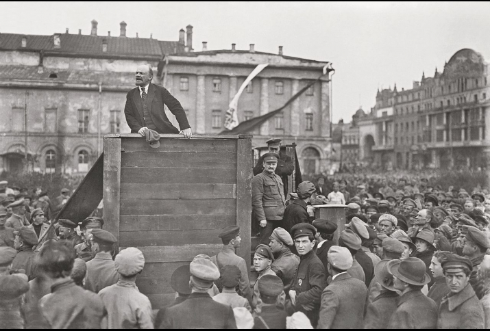 Vladimir Ilyych Lenin addresses Red Army troops headed for the Polish front at the Bolshoi Theatre in Moscow, 1920.