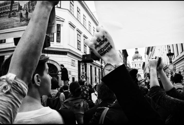 #istandwithceu. Demonstration in Ungarn gegen die Schließung der Central European University, 4. April 2017.