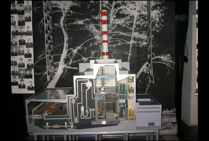 Schematische Darstellung des Reaktorblocks im Ukrainischen Nationalen Čornobyl'-Museum Kyïv