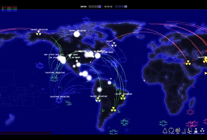 Weltkarte zeigt den Einsatz und die Entdeckung nuklearer Waffen. DEFCON (2006) - mit freundlicher Genehmigung © Introvision Software