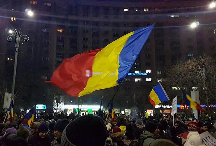 Protestkundgebung vor dem Regierungsgebäude in Bukarest