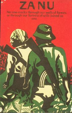Die Plakate der Befreiungsbewegungen entwickelten eigene Stile. Viele der Poster zeigen Frauen und Männer in bäuerlicher Kleidung, mit AK47.