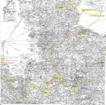 Karte des Todesmarschs von Raymond Gourlin (und Pascal Vallicioni) vom 5.04. bis 30.04 1945. Foto: privat. All rights reserved.