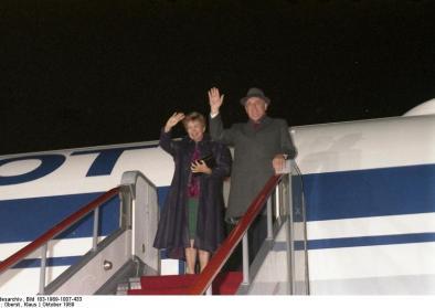 Michael Gorbatschow und seine Frau Raissa im Oktober 1989