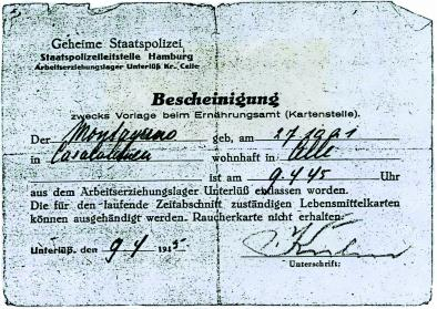Entlassungsschein der Gestapo vom 9.4.1945. Foto: privat. All rights reserved.