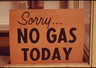 """NO GAS"" Schilder in Lincoln City, Oregon, Herbst 1973"