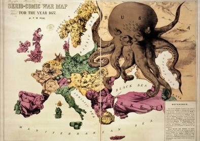 Political map of Europe in the year 1877 with Russia depicted as an Octopus