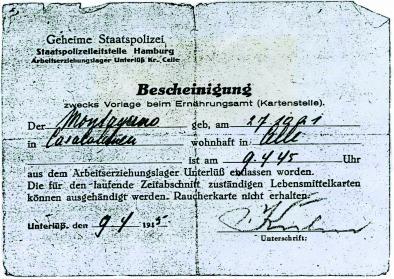 Entlassungsschein der Gestapo vom 9.4.1945. Foto: privat. All rights reserved.