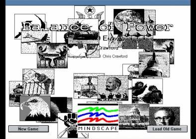 "Screenshot des Startbildschirms des Spiels ""Balance of Power"""