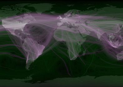World travel and communications recorded on Twitter