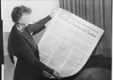 Eleanor Roosevelt and United Nations Universal Declaration of Human Rights in Spanish text