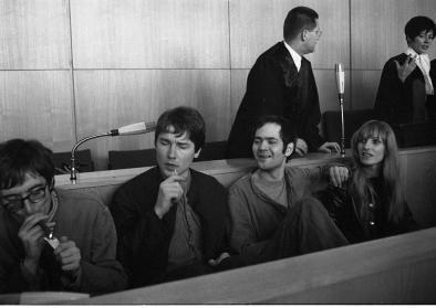 Proll, Baader und Ensslin während des Prozesses, Oktober 1968