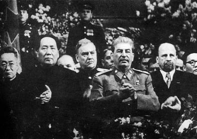 Mao at Stalin's side on a ceremony arranged for Stalin's 71th birthday in Moscow in December 1949. Behind between them is Marshal of the Soviet Union Nikolai Bulganin. on the right hand of Stalin is Walter Ulbricht of East Germany and at the edge Mongolia