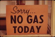 """""""NO GAS"""" Schilder in Lincoln City, Oregon, Herbst 1973"""
