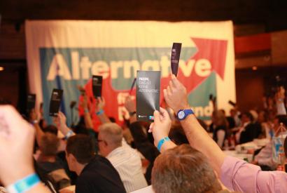 AfD-Abstimmung (Gegenstimmen). Aufgenommen am 19. Oktober 2014 von Metropolico.org (flickr/CC BY-SA 2.0)