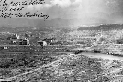 "Destructed Hiroshima with autograph of ""Enola Gay"" Bomber pilot Paul Tibbets"