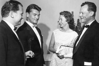 Eröffnung der Festspiele: Alfred Bauer, Jean Marais, Ruth und Willy Brandt (Von links nach rechts)