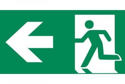 Rettungszeichen E002:Rettungsweg/Notausgang mit Zusatzzeichen (Richtingspfeil)