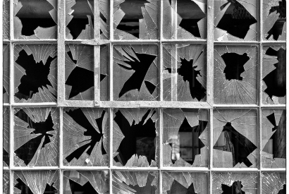 Zerbrochene Glasscheibe