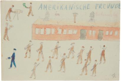 Amerikanische Freunde in Buchenwald, 1945, Zeichnung von Thomas Geve. © Yad Vashem