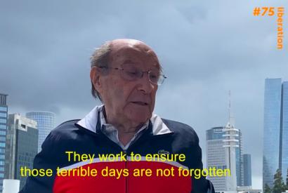 Screenshot: Richard Fagot aus Israel, Überlebender der Konzentrationslager Ravensbrück und Sachsenhausen, in einer Videobotschaft anlässlich des 75. Jahrestages der Befreiung nationalsozialistischer Konzentrationslager