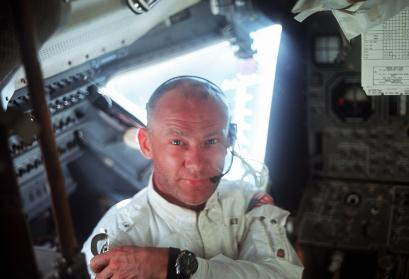 "Edwin ""Buzz"" Aldrin during the lunar landing mission"