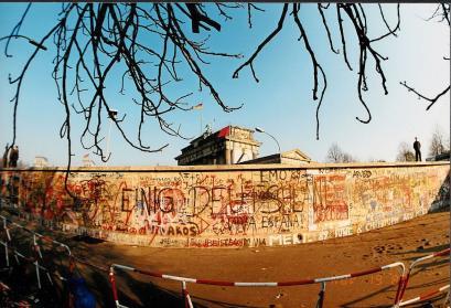 Panoramafoto der Berliner Mauer 1989