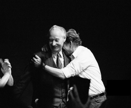 Václav Havel embraces Alexander Dubček at a meeting in the Laterna Magika theatre in Prague, at 24 November 1989. That same night the whole leadership of the Czechoslovak Communist Party resigns.