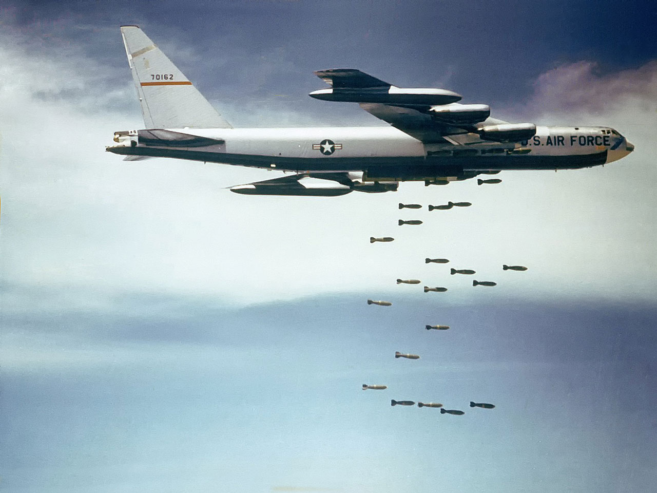 B-52 Stratofortress dropping bombs in the 1960's over Vietnam